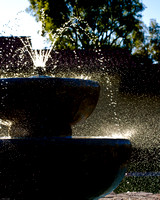 Sunlit Fountain Splash